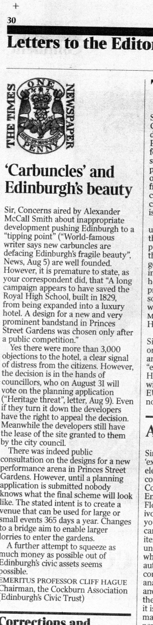 Letter in The Times 11 Aug 2017